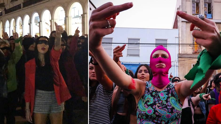 Solidarität mit Chile: Frauen protestieren mit Tanzaktion am Hamburger Jungfernstieg gegen Vergewaltigung