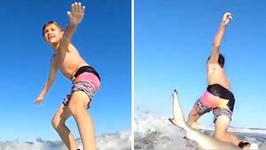 Hai schmeißt 7-Jährigen vom Surfbrett