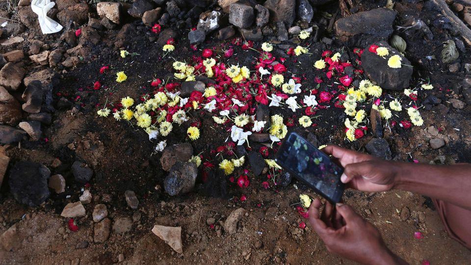 Blüten am Tatort, wo die Leiche einer jungen Frau verbrannt worden war