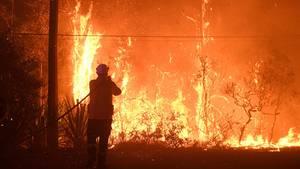 Ein Feuerwehrmann der New South Wales Feuerwehrbehörde versucht Häuser an der Waratah Road und der Kelyknack Road vor dem Feuer zu schützen. Wegen der nahen Buschbrände ist Australiens Ostküstenmetropole Sydney erneut in Rauch gehüllt