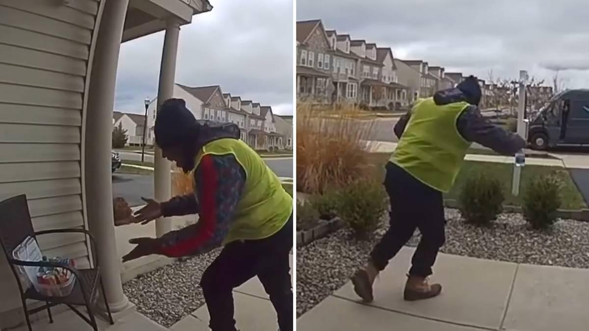 Weihnachtsgruß : Postbote entdeckt eine süße Überraschung – und legt einen Freudentanz ein
