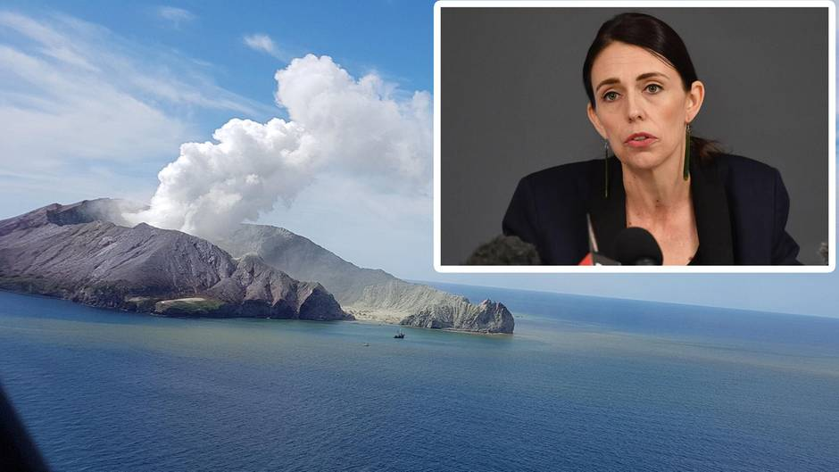 Neuseelands Premierministerin Jacinda Arderm hält eine PK nach dem Vulkanausbruch auf White Island