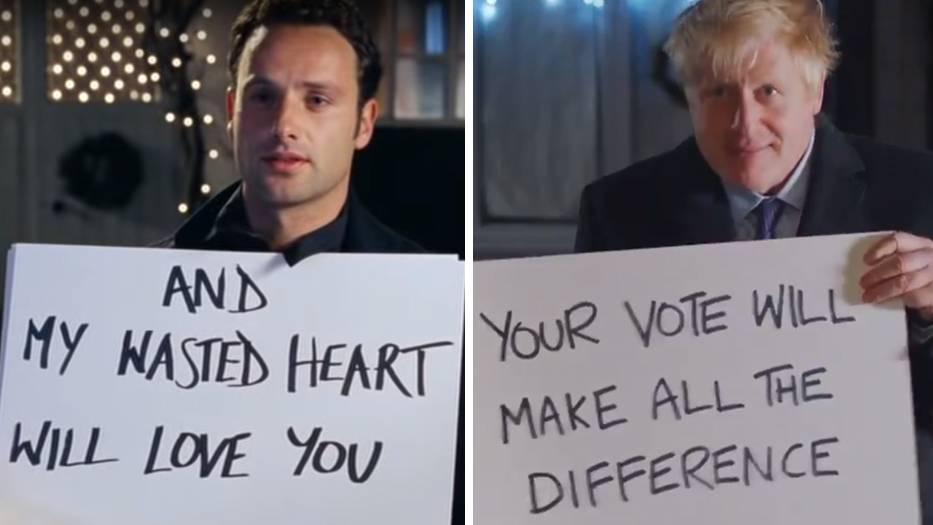 """Andrew Lincoln als Mark in """"Tatsächlich ... Liebe"""" und Großbritanniens Premier Boris Johnson in der Wahlwerbung"""