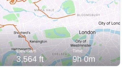 Landkarte von London mit Route in Form eines Rentiers