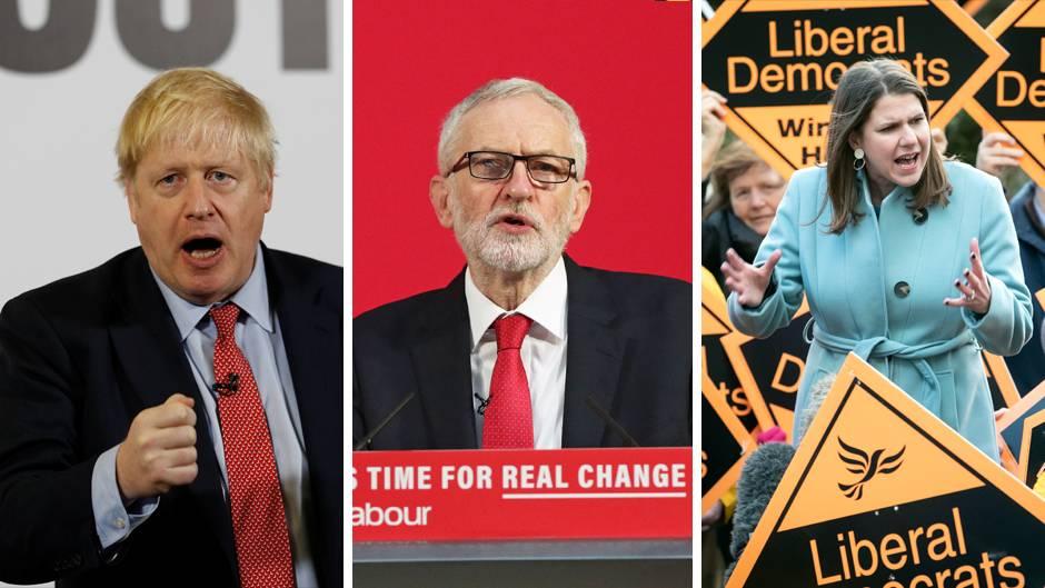 Großbritanniens Premierminister Boris Johnson, Labour-Chef Jeremy Corbyn undJo Swinson, Vorsitzende der Liberaldemokraten