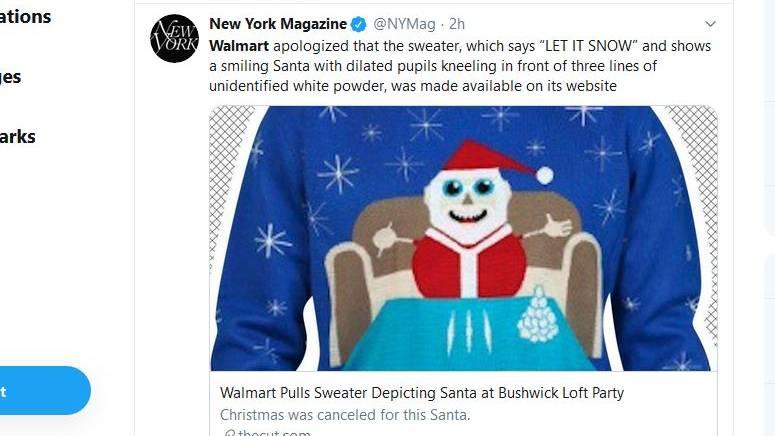 Ein Tweet des New York Magazine mit einen Foto des Weihnachtspullis
