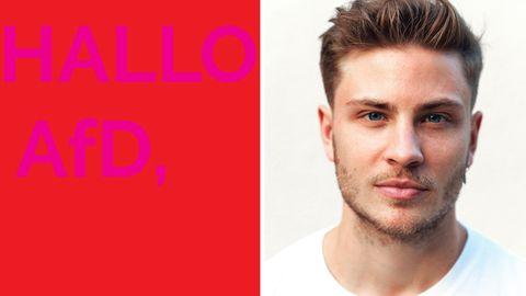 SchauspielerJannik Schümann fordert seine Fans auf, der AfD Postkarten mit Wünschen zu schicken