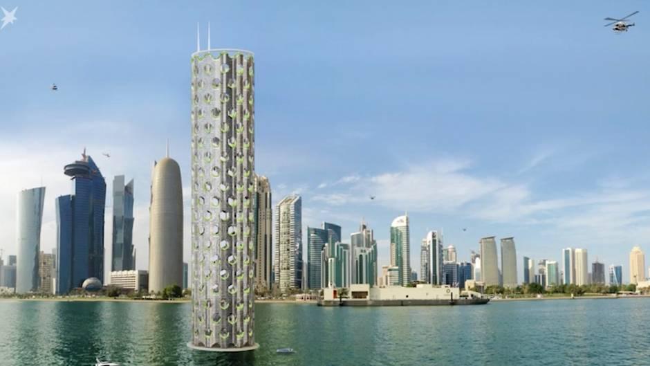 Bauentwurf in Dubai : 750 Meter hohe Nullenergie-Wolkenkratzer: So soll die Öko-Stadt der Zukunft aussehen