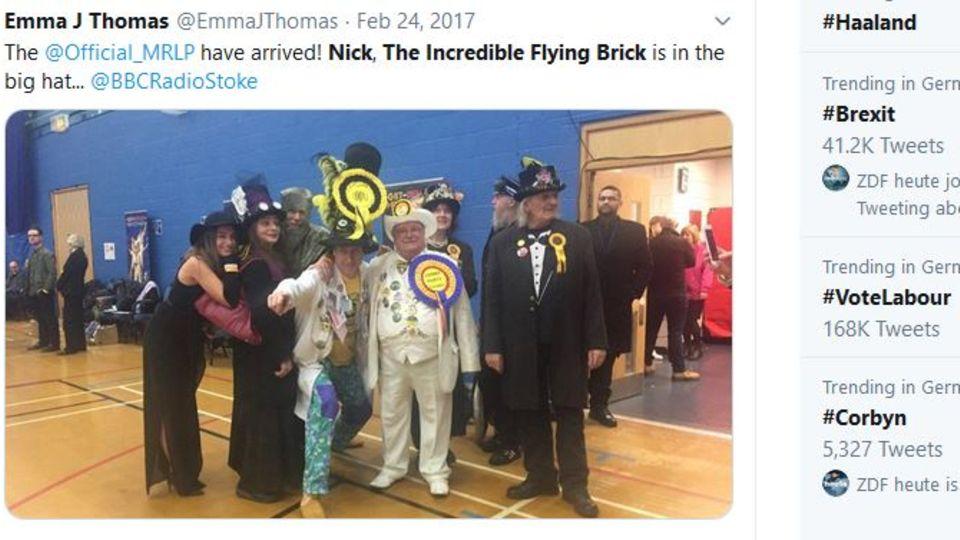 Nick the Incredible Flying Brick auf einem Foto auf Twitter