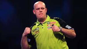Michael van Gerwen of The Netherlands celebrates in his Second Round match against Jelle Klaasen