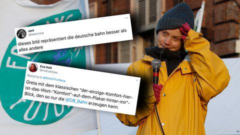 """Klimaaktivistin Greta Thunberg sitzt in der """"überfüllten"""" Deutschen Bahn auf dem Weg nach Schweden."""