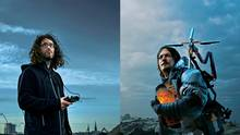 Links: Stephan Maus mit einem Controller in der Hand. Rechts: Der Protagonist Sam Porter Bridges