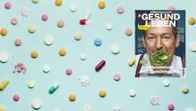 Medikamente entsorgen: Tabletten liegen auf einem blauen Untergrund
