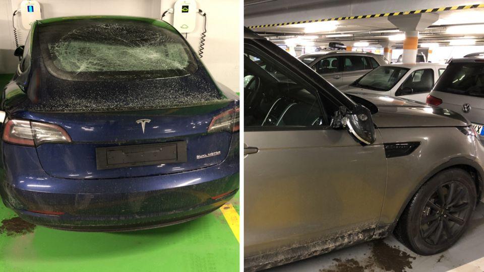 beschädigte Autos im Parkhaus in der Schweiz