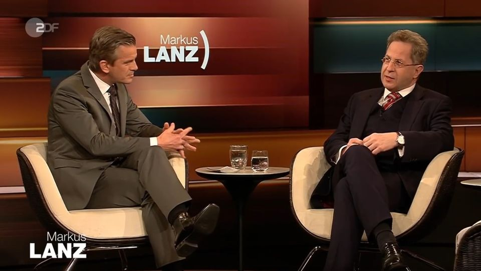 Der frühere Chef des Bundesverfassungsschutzes, Hans-Georg Maaßen (r.), bei Markus Lanz