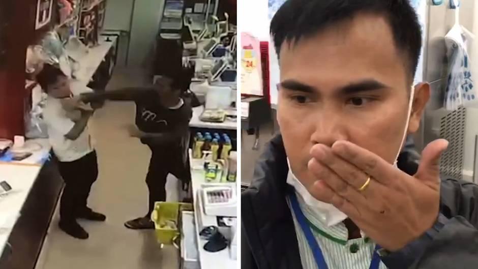 Fürsorglicher Räuber? Nach einem Schlag ins Gesicht umsorgt ein Supermarkt-Dieb den Kassierer.