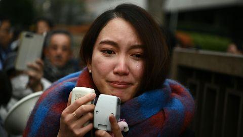 Tokio, Japan: Die Journalistin Shiori Ito weint,nachdem sie das Urteil zu ihrerSchadenersatzklage gehört hat
