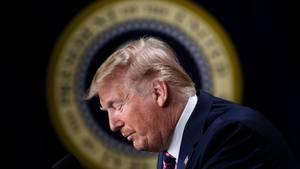 Donald Trump vor dem Präsidenten-Wappen
