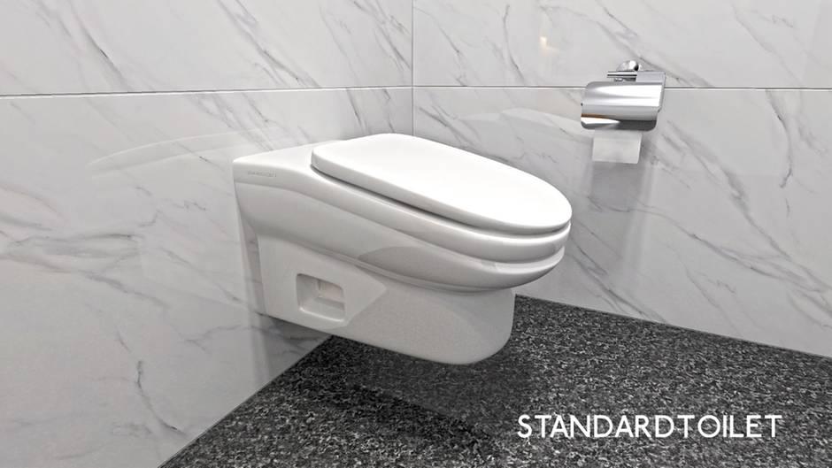 """Schräge Erfindung: """"StandardToilet"""" verkauft Toiletten, deren Sitz um 13 Grad nach vorne geneigt ist"""