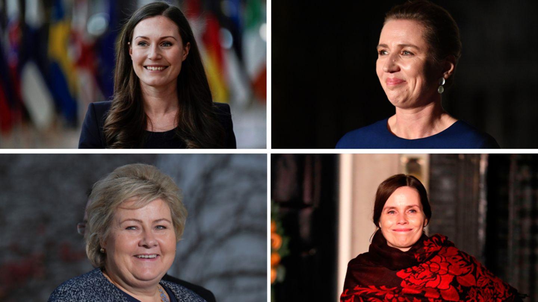 Von links oben nach rechts unten: Sanna Marin, Mette Frederiksen, Erna Solberg, Katrín Jakobsdóttir