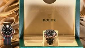 Rolex in einer Auslage präsentiert