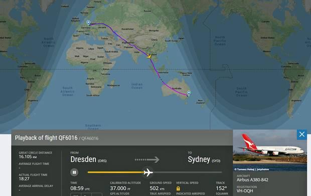 Die Route des mehr als 16.000 Kilometer langen Sonderfluges QF 6016