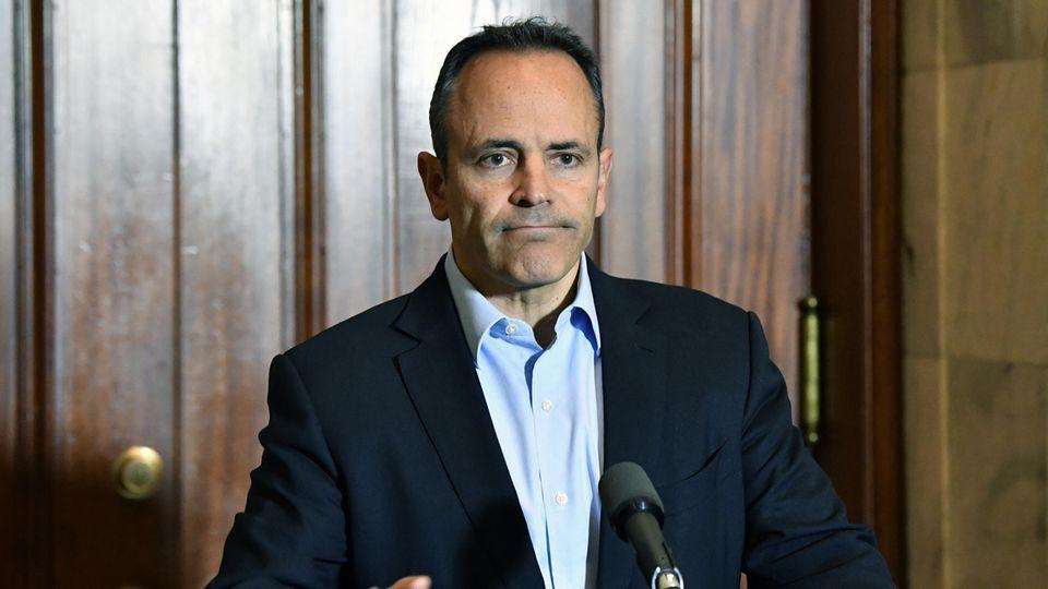 Ex-Gouverneur Matthew Bevin bei einer Pressekonferenz in Frankfort, Kentucky