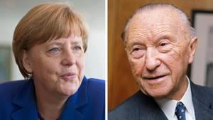 Bundeskanzlerin Angela Merkel und Konrad Adenauer, der erste Kanzler der Bundesrepublik