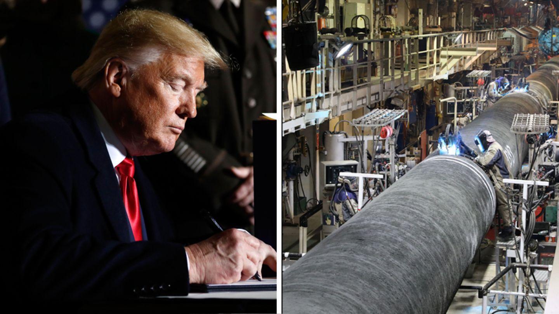 US-Präsident Donald Trump und Rohre für die Gaspipeline Nord Stream 2