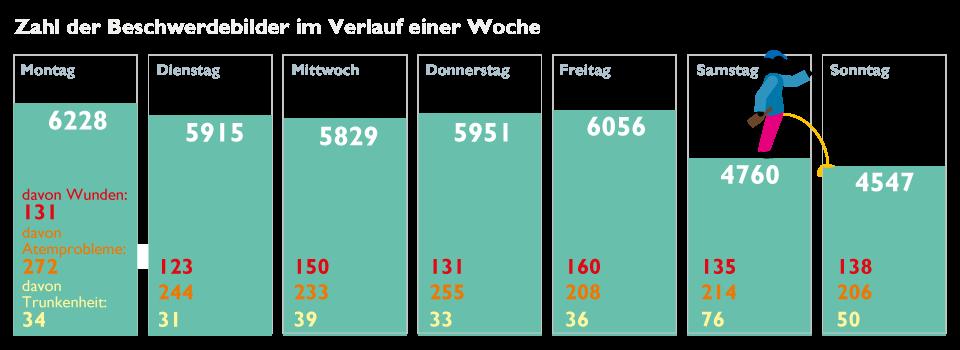 Erläuterung: Absolute Zahlen aus der Notaufnahme des Marienkrankenhauses Hamburg im Zeitraum August 2018 bis August 2019. Die Auswahl der Einzelkategorien erfolgte redaktionell.