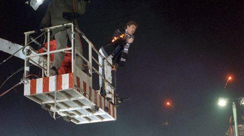 David Hasselhoff beim Silvester-Auftritt an der Berliner Mauer 1989