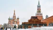 Der Rote Platz in Moskau. Es liegt Schnee