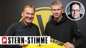 Hans-Joachim Watzke, Vorsitzender der BVB-Geschäftsführung (l.), und Erling Haaland
