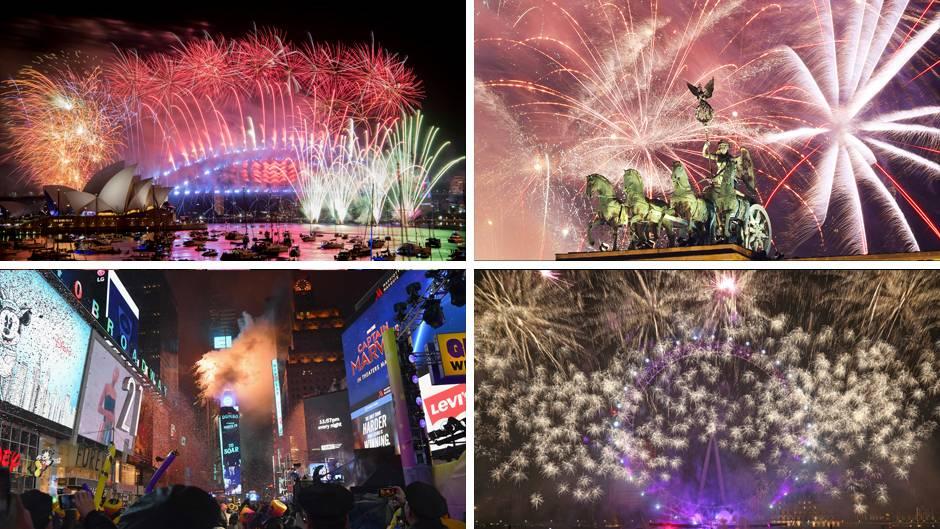 Silvesterfeiern in Sydney, Berlin, New York und London