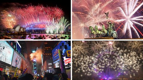 Silvesterfeiern in Sydney, Berlin, New York und London