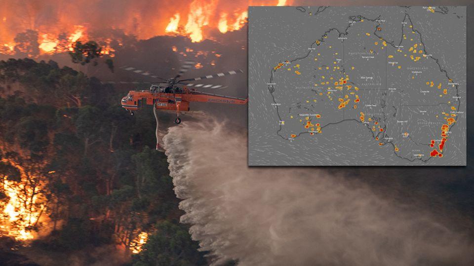 Löschflugzeug fliegt über brennenden Wald