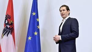 Sebastian Kurz, Vorsitzender der Österreichischen Volkspartei (ÖVP), gibt anlässlich der Fortsetzung der Regierungsverhandlungen ein Pressestatement