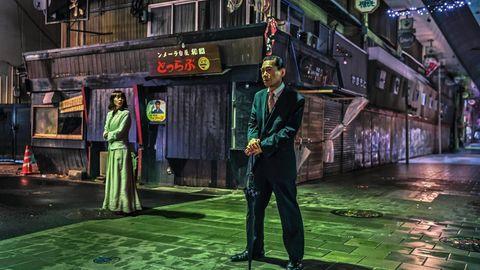 Eine Nachtszene in der Kleinstadt Beppu
