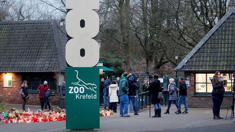 Blumen und Trauerkerzen vor dem Engang des Krefelder Zoos