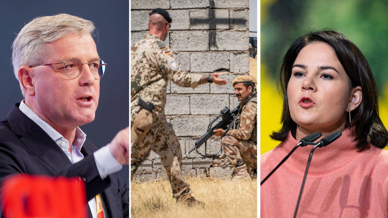 CDU-Außenpolitiker Röttgen (l.) ist gegen eine Beendigung des EInsatzes, Grünen-Chefin Baerbock dafür