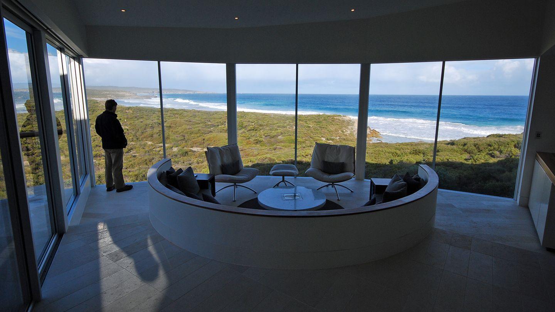 Blick aus einem der suiten in der Southern Ocean Lodge