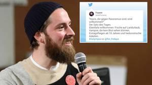 Philip Siefer mit Mikrofon und Twitter-Kommentar