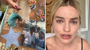 Collage: Kinderbilder, Schauspielerin Margot Robbie