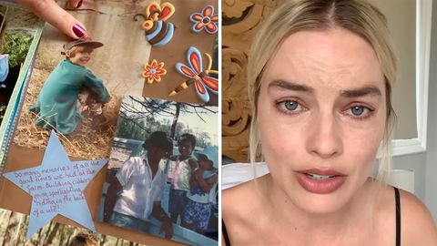 Collage: Kinderbilder, Schauspielerin Margot Robbie