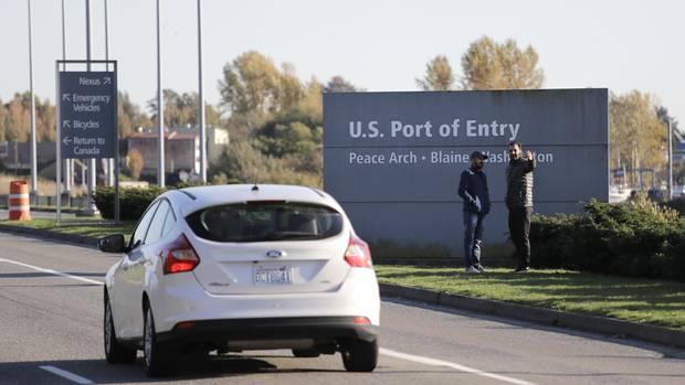 "Der ""Peace Arch""-Grenzübergang nahe der Stadt Blaine, im US-Bundesstaat Washington"
