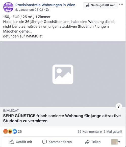 """Die Wohnungsanzeige auf der Facebook-Seite """"Provisionsfreie Wohnungen in Wien"""""""