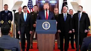 Donald Trump, Präsident der USA, wendet sich in einer Ansprache aus dem Grand Foyer des Weißen Hauses an die Nation.