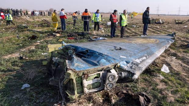 Das Seitenruder der im Iran abgestürzten Boeing 737-800 von UkraineInternational Airlines