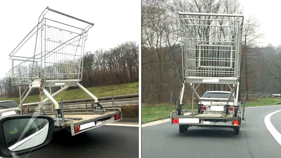Ein Fahrzeug auf der Autobahn in Dortmund transportiert einen riesigen Einkaufswagen