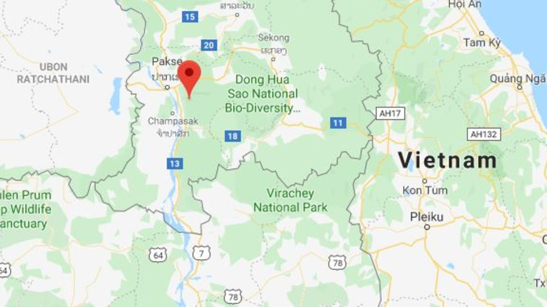 Eine Karte zeigt Teile von Laos und Teile Vietnams